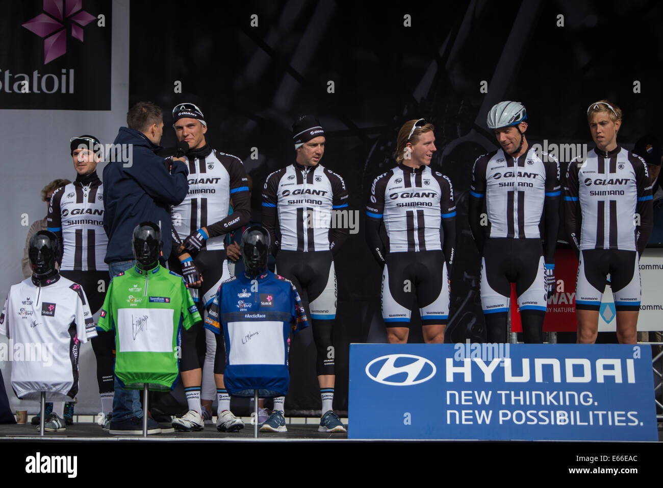 Alta 20140816, Arctic Race of Norway 2014, day 3  Team Argos Shimano is presented before the start of the 3rd stage - Stock Image