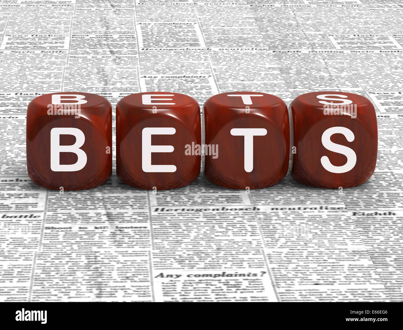 Bets Dice Meaning Gambling Risk And Betting - Stock Image