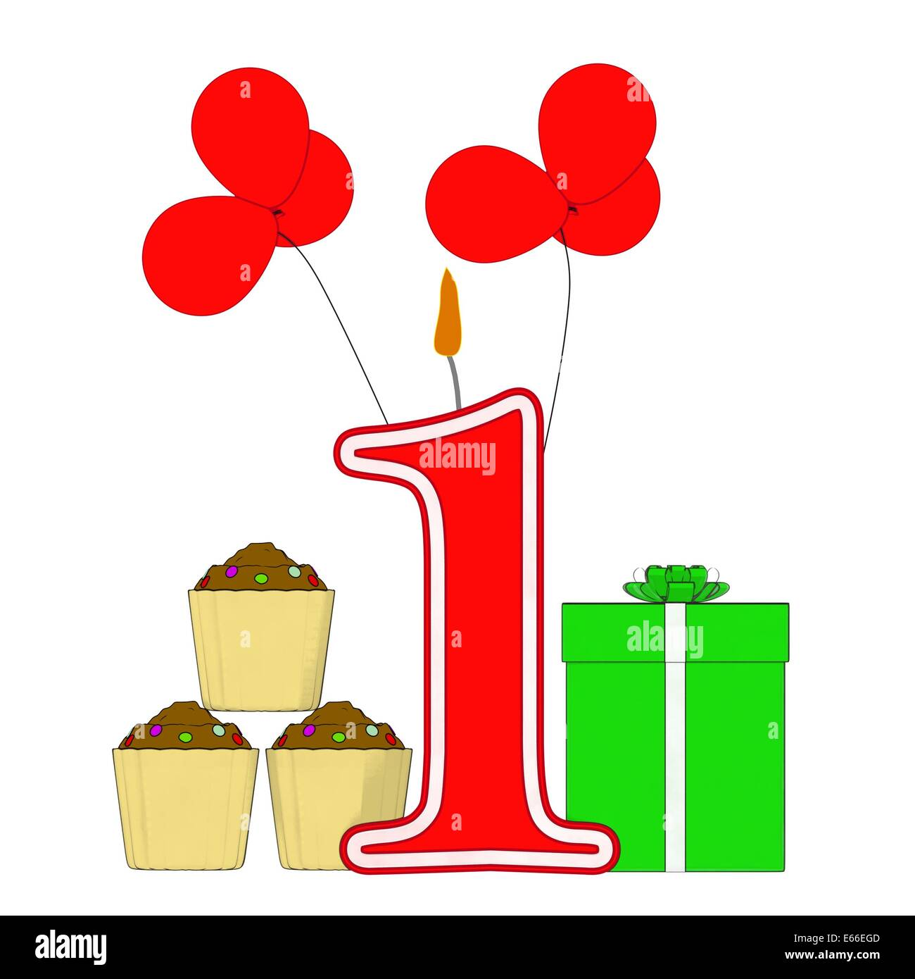 Number One Candle Showing Year Birthday Party Or Celebration