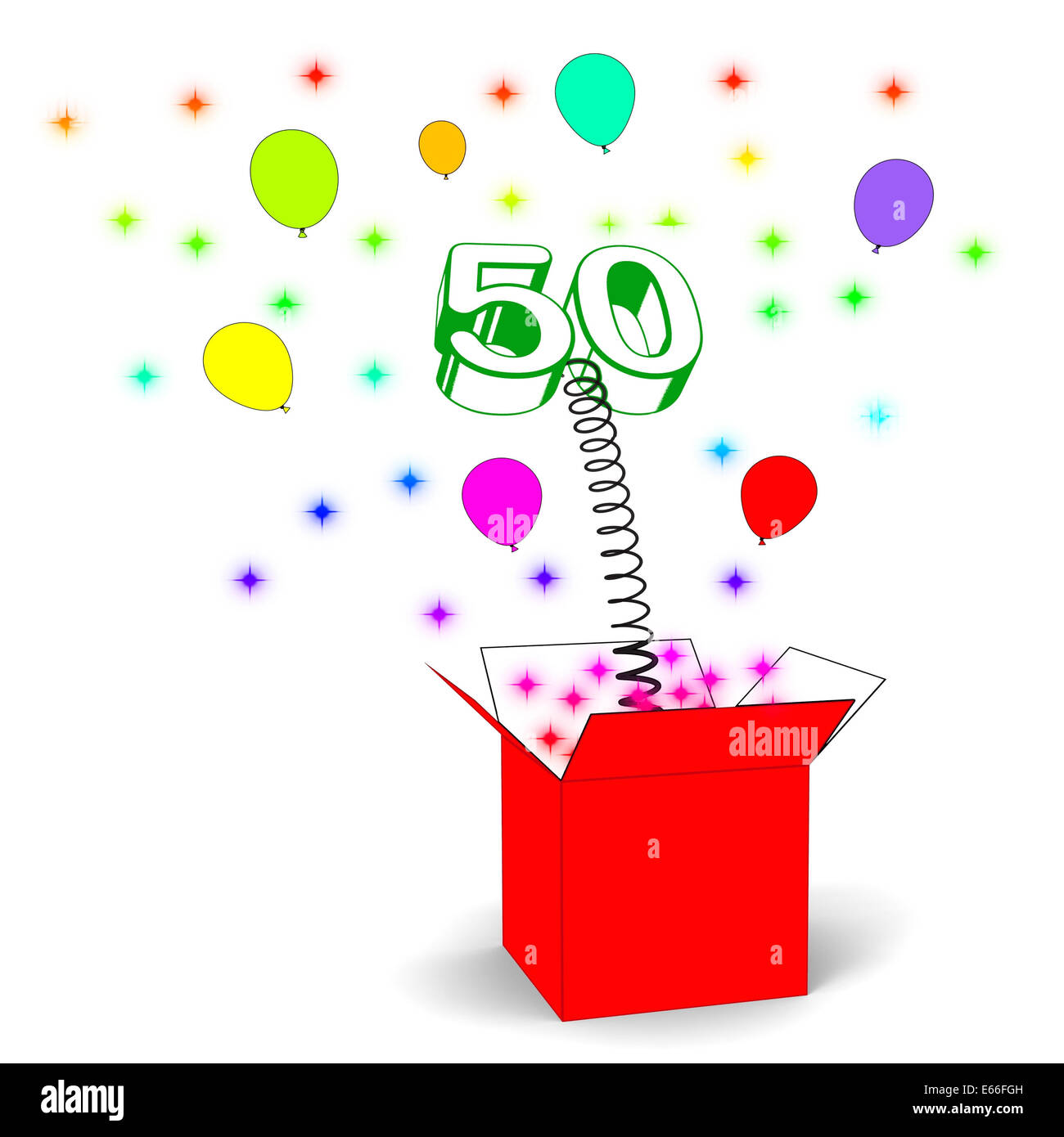 Number Fifty Surprise Box Showing Fiftieth Birthday Or Birth Anniversary