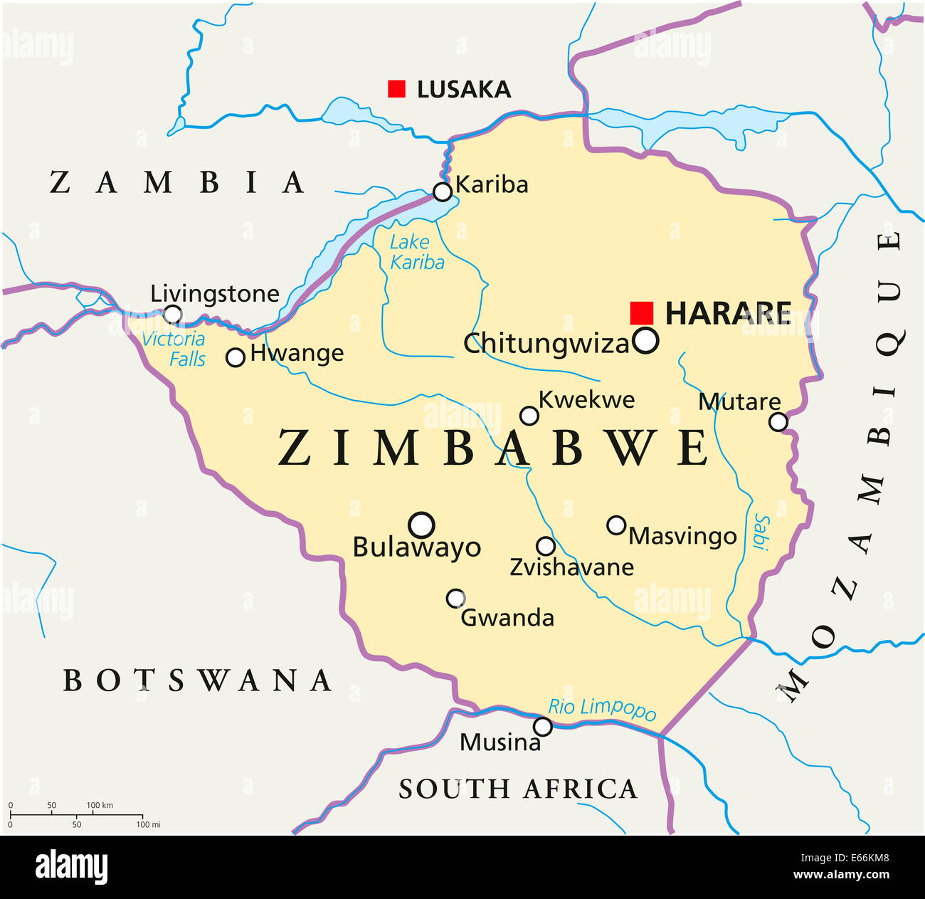 Zimbabwe Political Map with capital Harare with national borders