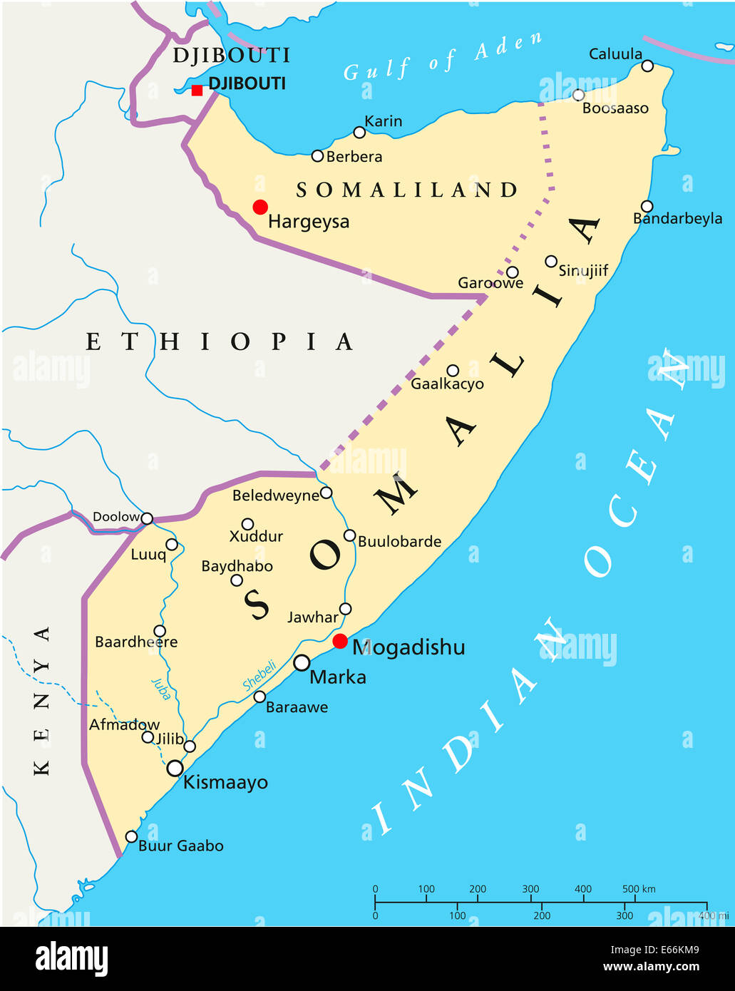 Somalia Political Map with capital Mogadishu with national borders