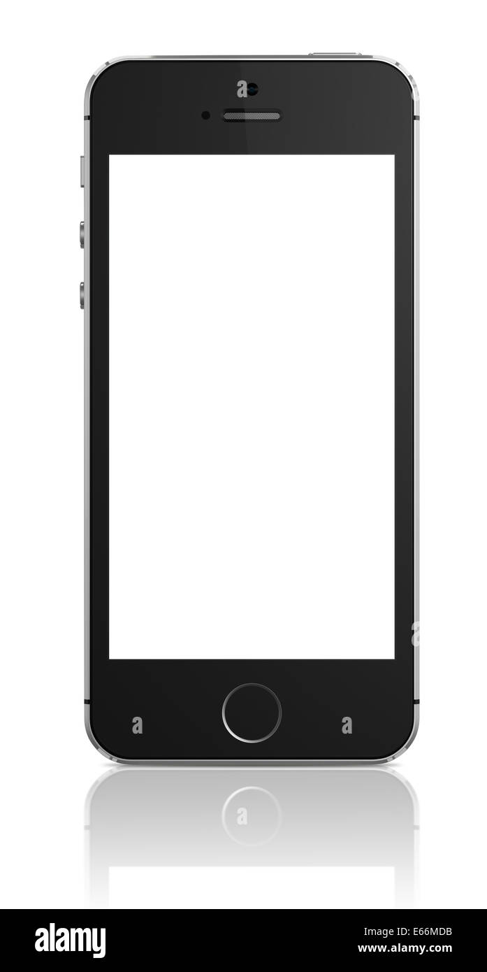 Smartphone with blank screen on white background - Stock Image