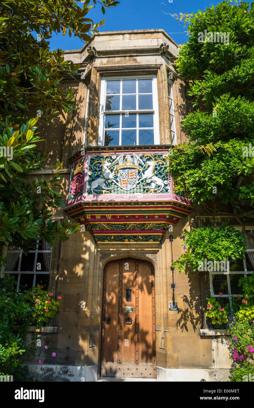 Christ's College, Highly decorative balcony of Master's Lodge, First Court, Cambridge, England, UK - Stock Image