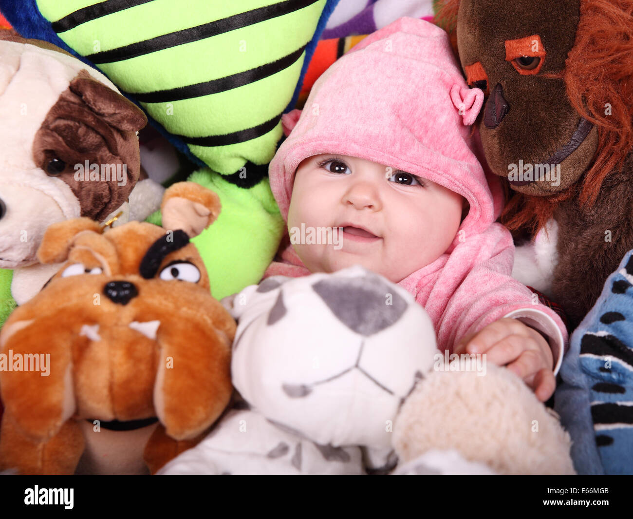 A baby girl between a lot of teddies - Stock Image