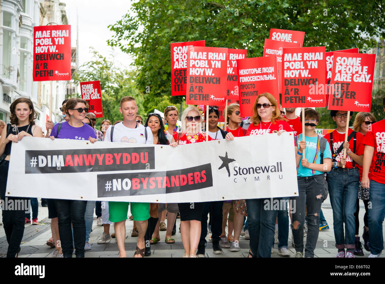 Cardiff, Wales, UK. 16th Aug, 2014. The 2014 Pride Cymru LGBT parade Mardi Gras in Cardiff Stonewall Credit:  Robert - Stock Image