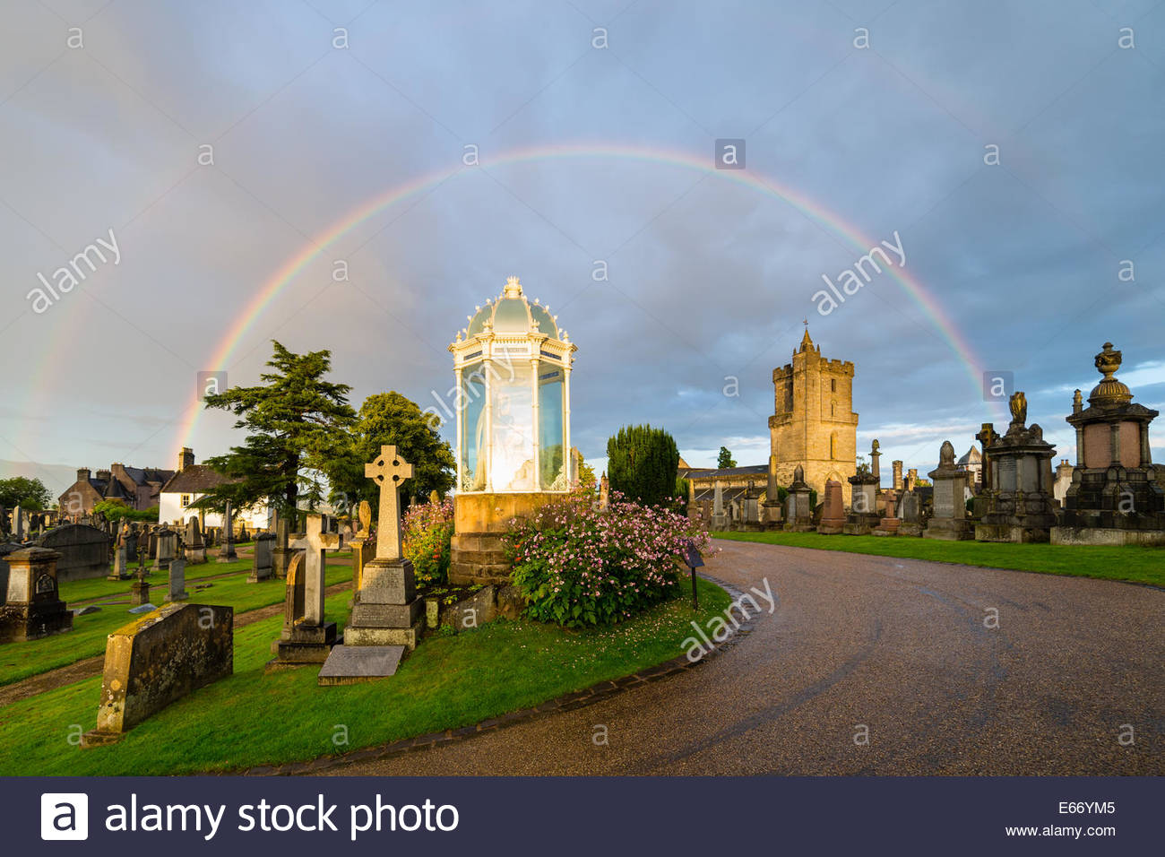 Rainbow in Stirling cemetery, Scotland. - Stock Image