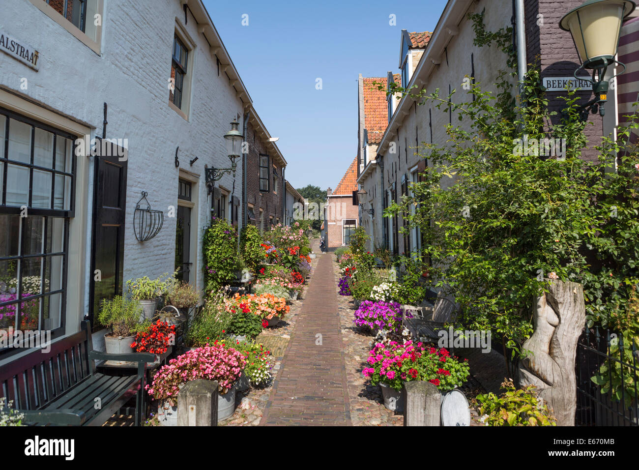 Romantic street with flowers in the old Hanseatic city 'Elburg' in the Netherlands - Stock Image