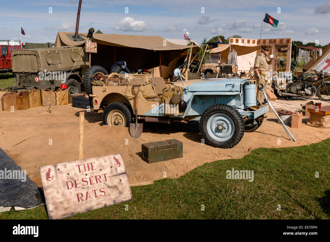 Kent, UK. 16th Aug, 2014. The 6th Annual Combined Ops Show at Headcorn Airfield. Featuring fly-overs, war re-enactments, - Stock Image