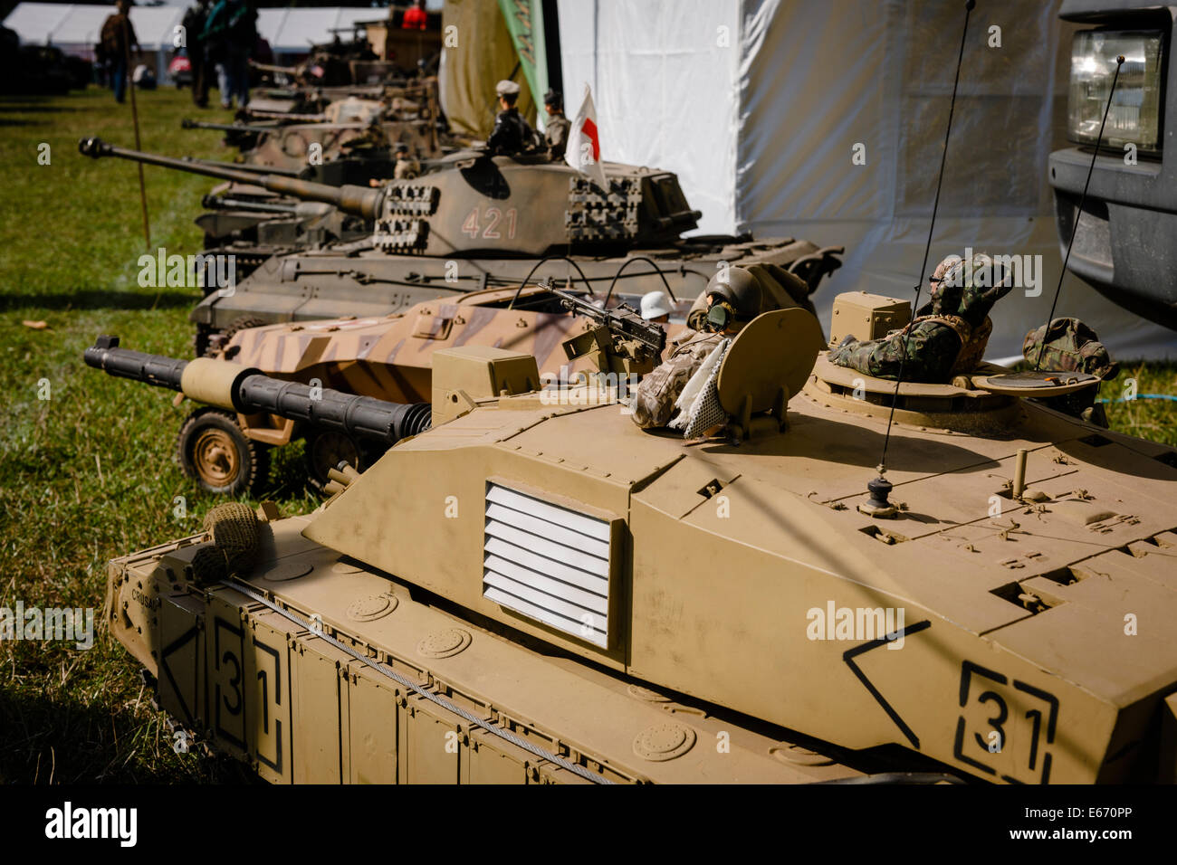 Kent, UK  16th Aug, 2014  Miniature Tanks and soldiers on