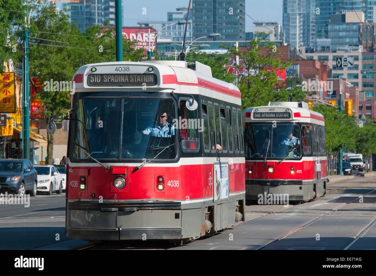 Electrical streetcars Spadina avenue Downtown Toronto Canada - Stock Image