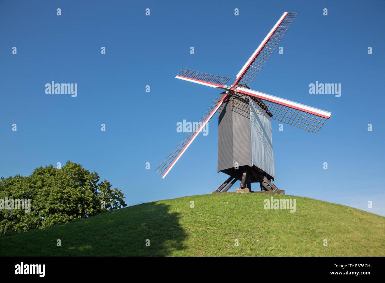 Brges - Wind-mill Sint Janshuismolen - Stock Image