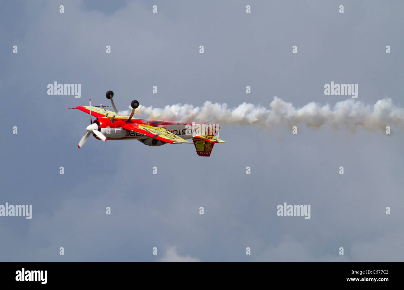 Helsinki, Finland, 16th of August, 2014. Lithuanian aerobatic pilot Jurgis Kairys flyed at Helsinki-Malmi Airport - Stock Image