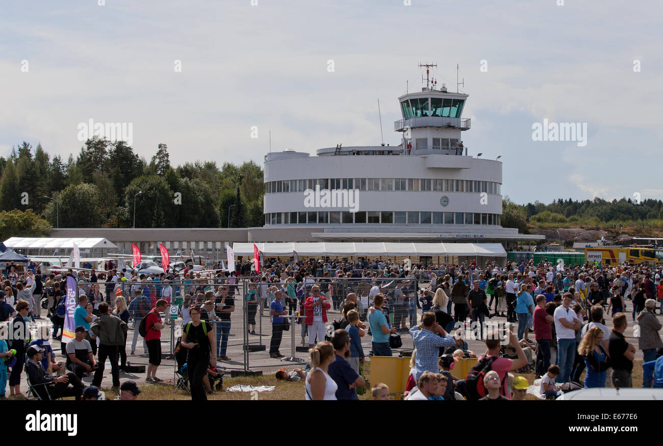Helsinki, Finland, 16th of August, 2014. People watched Finland International Airshow 2014 at Helsinki-Malmi Airport. - Stock Image