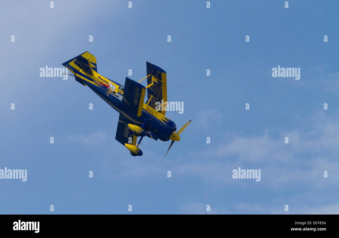 Helsinki, Finland, 16th of August, 2014.Air show pilot Jacob Holländer flyed Viking at Helsinki-Malmi Airport - Stock Image