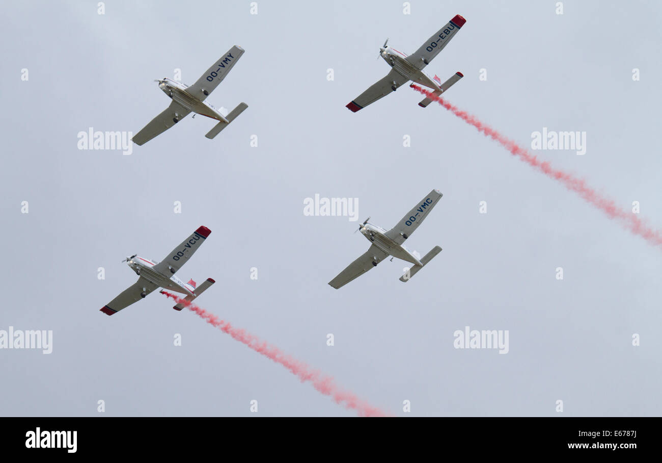 Helsinki, Finland, 16th of August, 2014. Formation Team the Victors flyed PA-28 Cadets at Helsinki-Malmi Airport - Stock Image