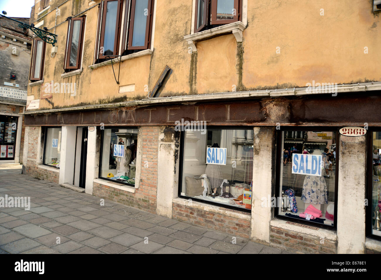 Italy Venice San Polo faded shop front 'La Lucatelll' - Stock Image