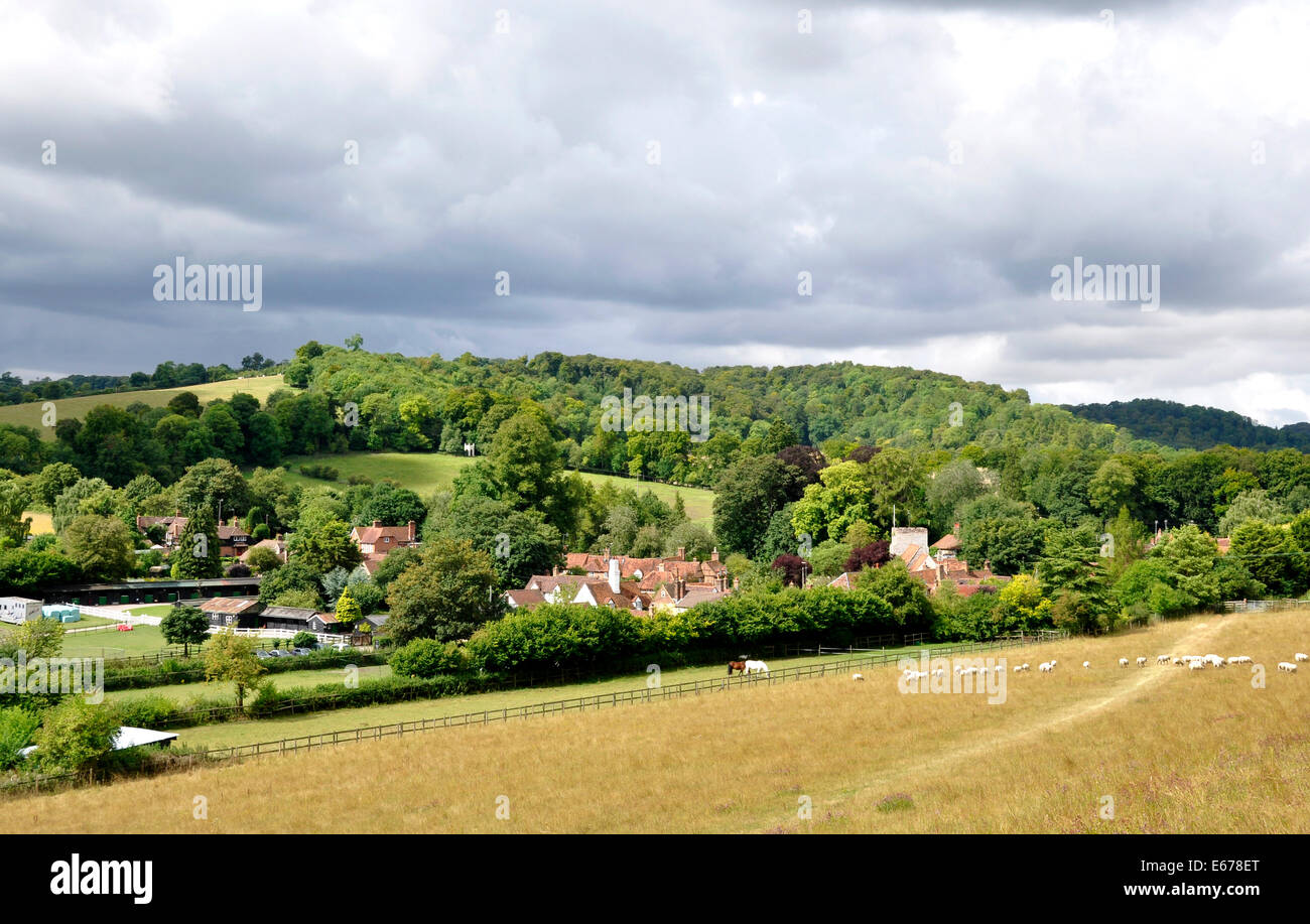 Bucks - Chiltern Hills - view over meadow to Turville village - cottage rooftops - church tower - wodded hills beyond - Stock Image