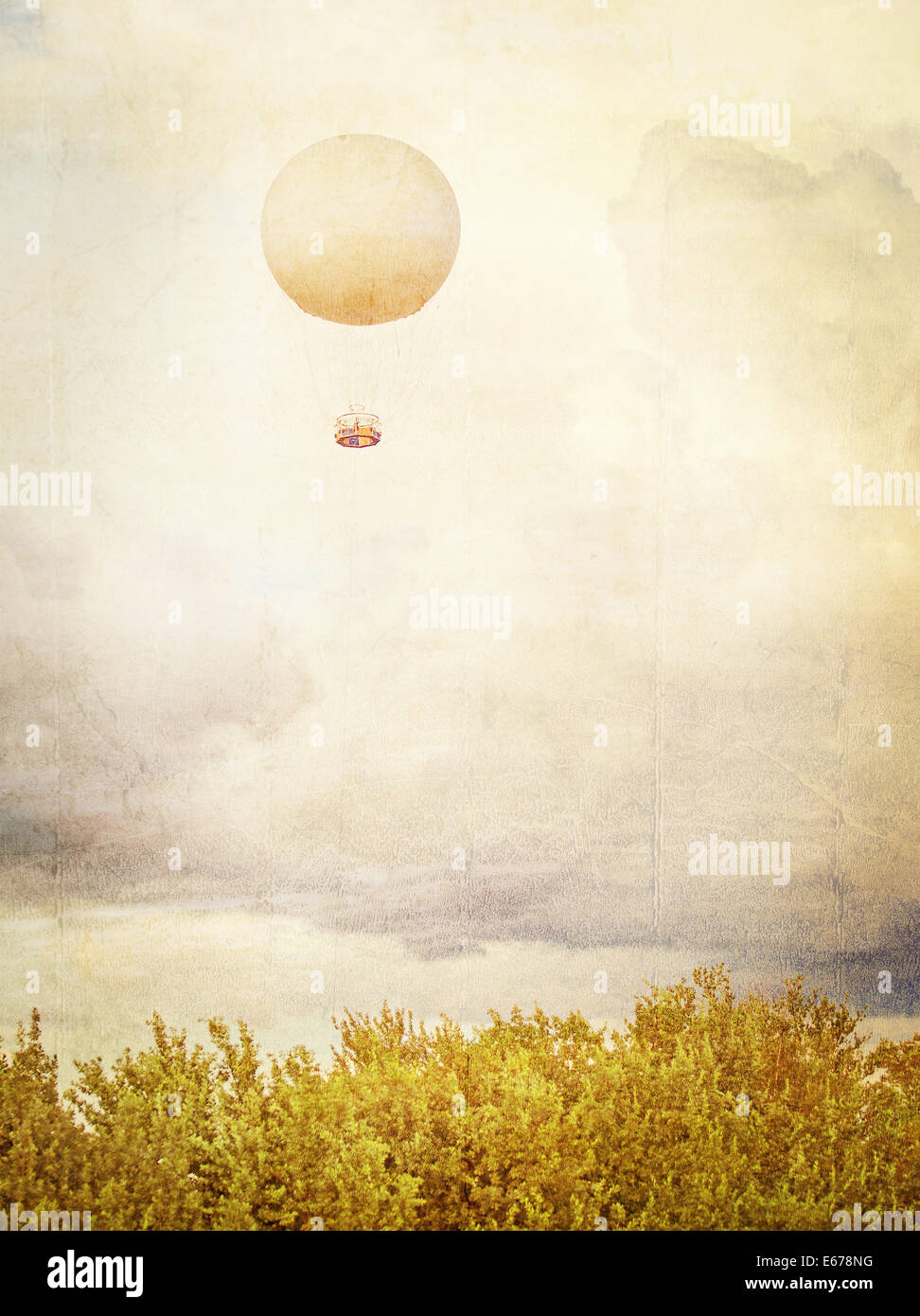 Vintage picture of Tethered aerostat balloon. Place for text. - Stock Image