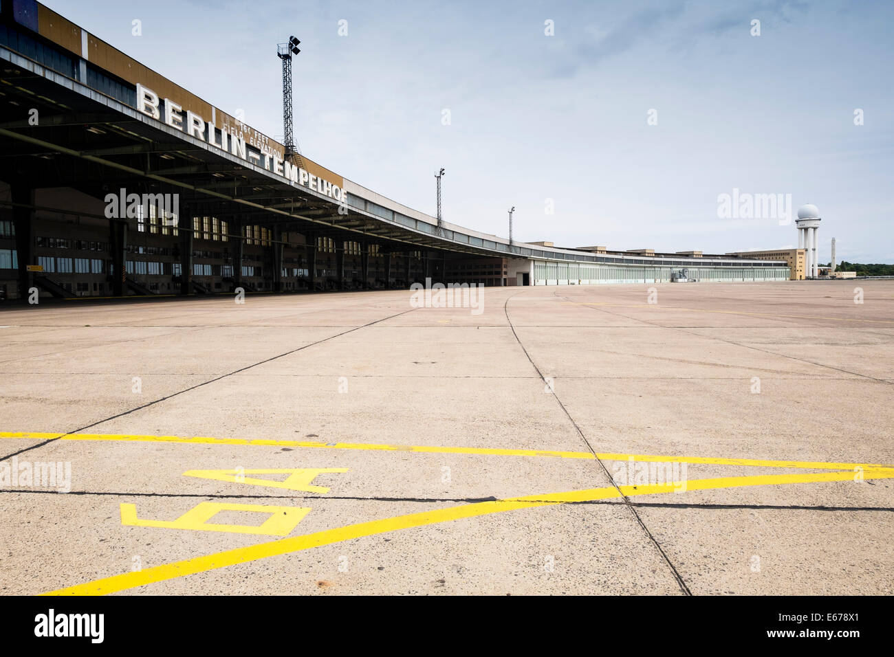 view of old Terminal buildings at Tempelhof Airport in Berlin Germany - Stock Image