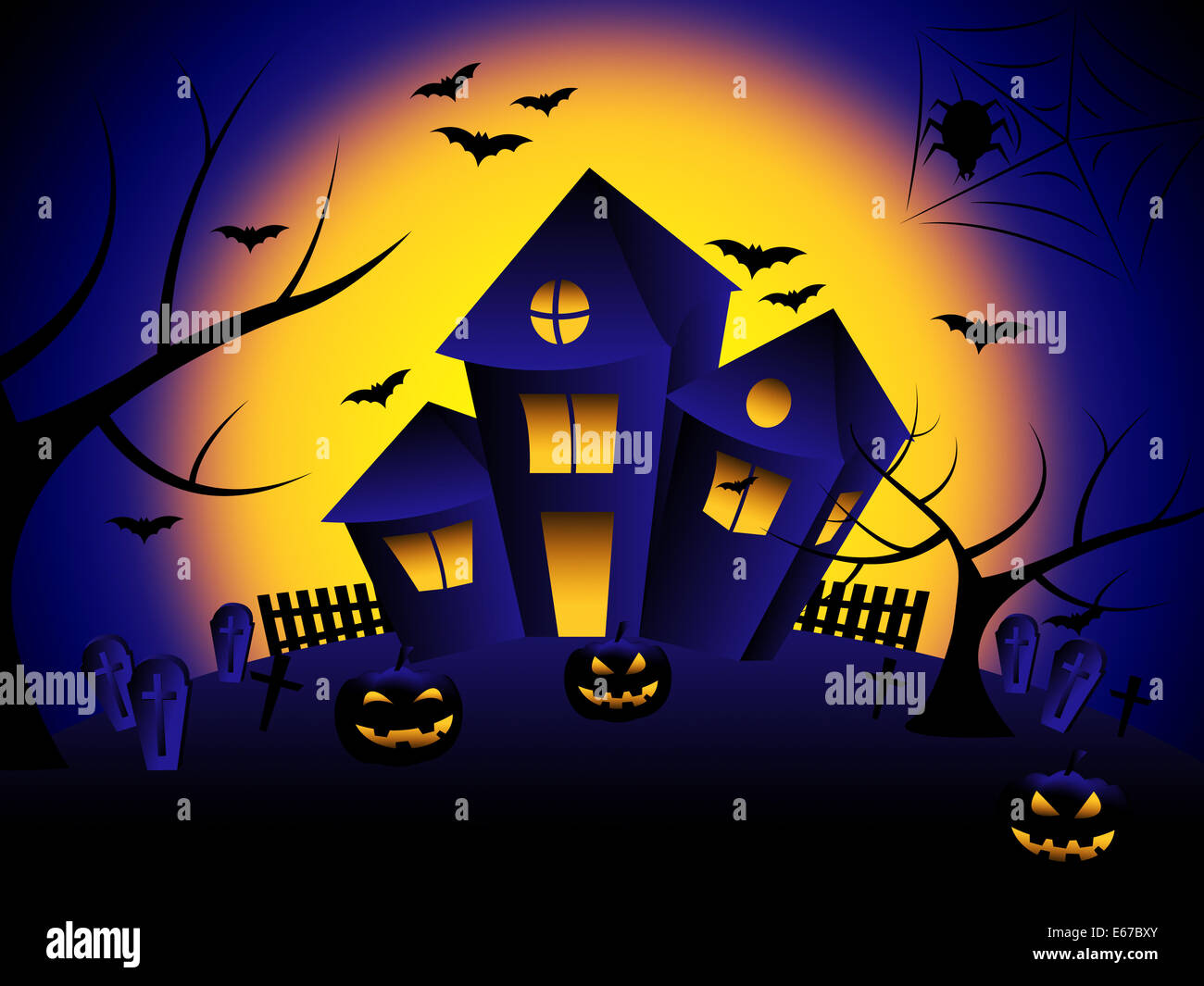 Haunted House Showing Trick Or Treat And Happy Halloween Stock Photo Alamy