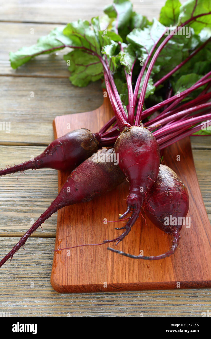 Fresh red beetroot roots, food closeup - Stock Image