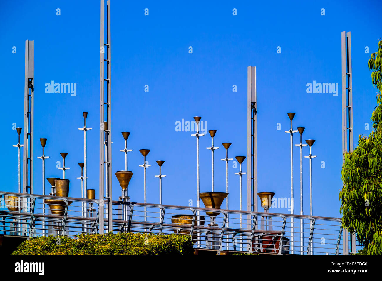 Federation Bells Bronze-alloy bells on galvanised-steel poles, 2002 public art installation, Melbourne, Australia - Stock Image