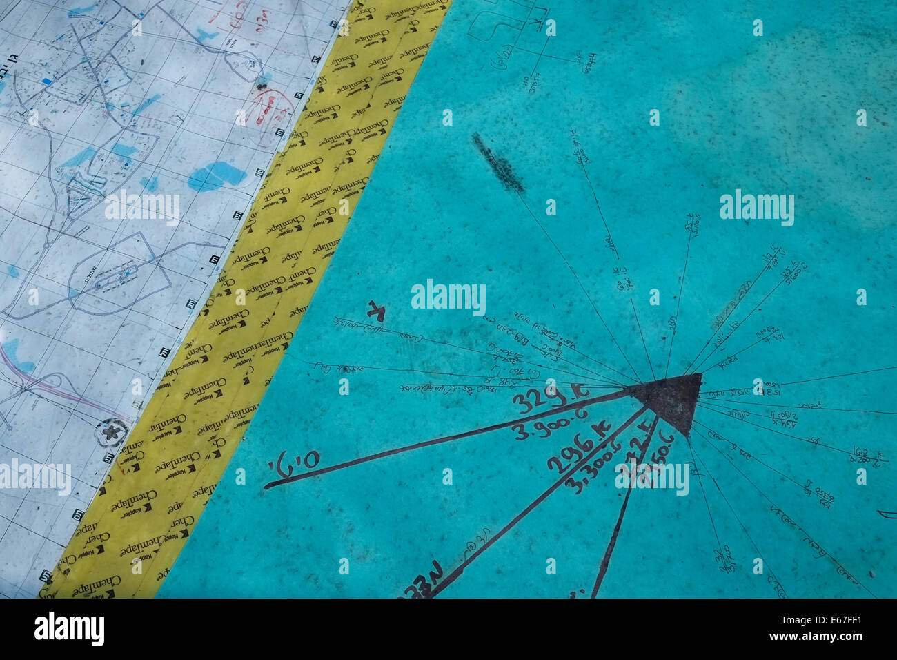 A military vector chart with map at the Israeli military observation post near the city of Ashdod Israel - Stock Image