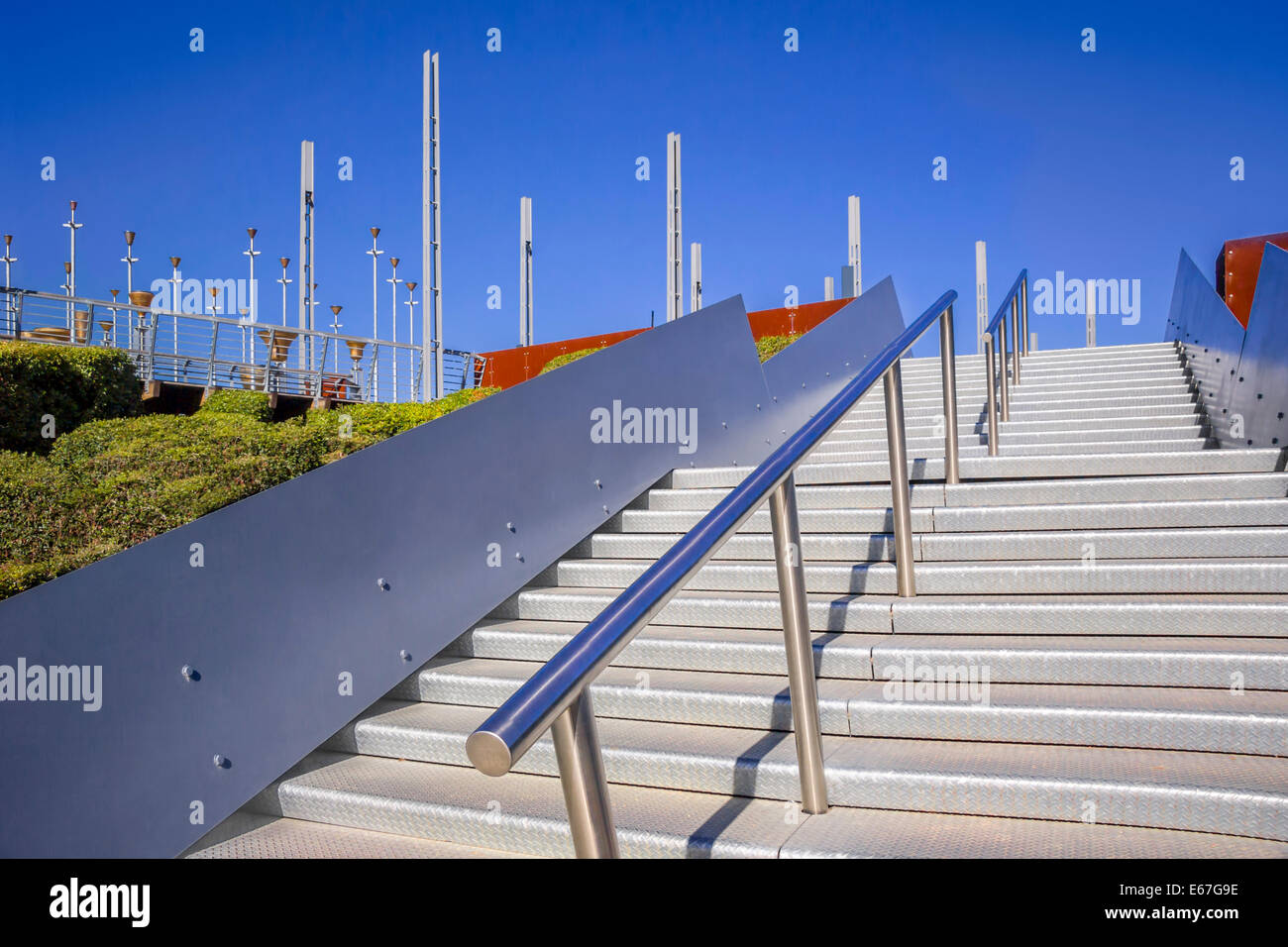 Steps leading to Federation Bells, public art installation Melbourne, Victoria Australia - Stock Image