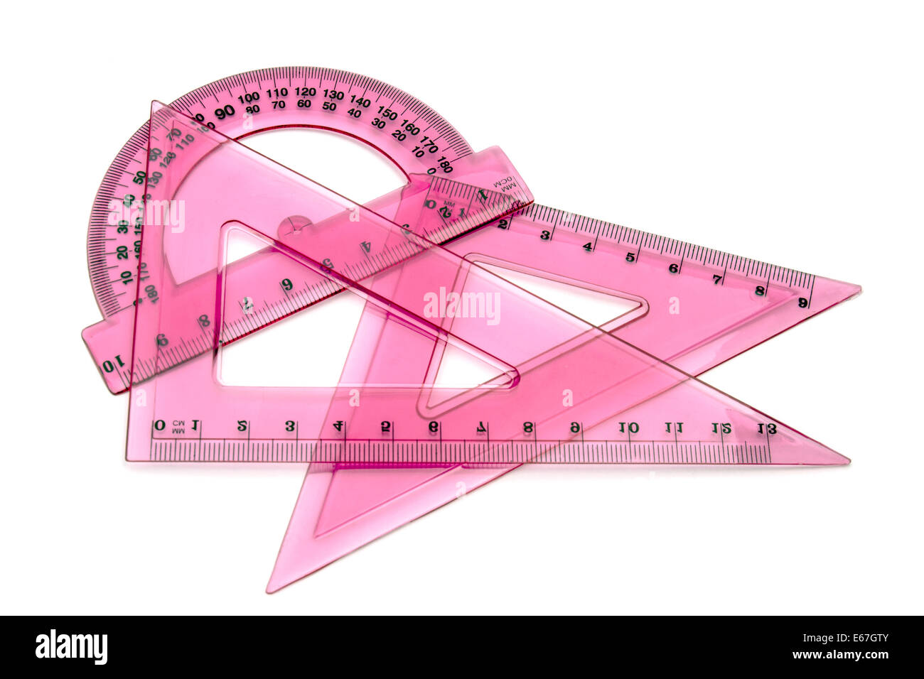 Pink rulers isolated on white background Stock Photo