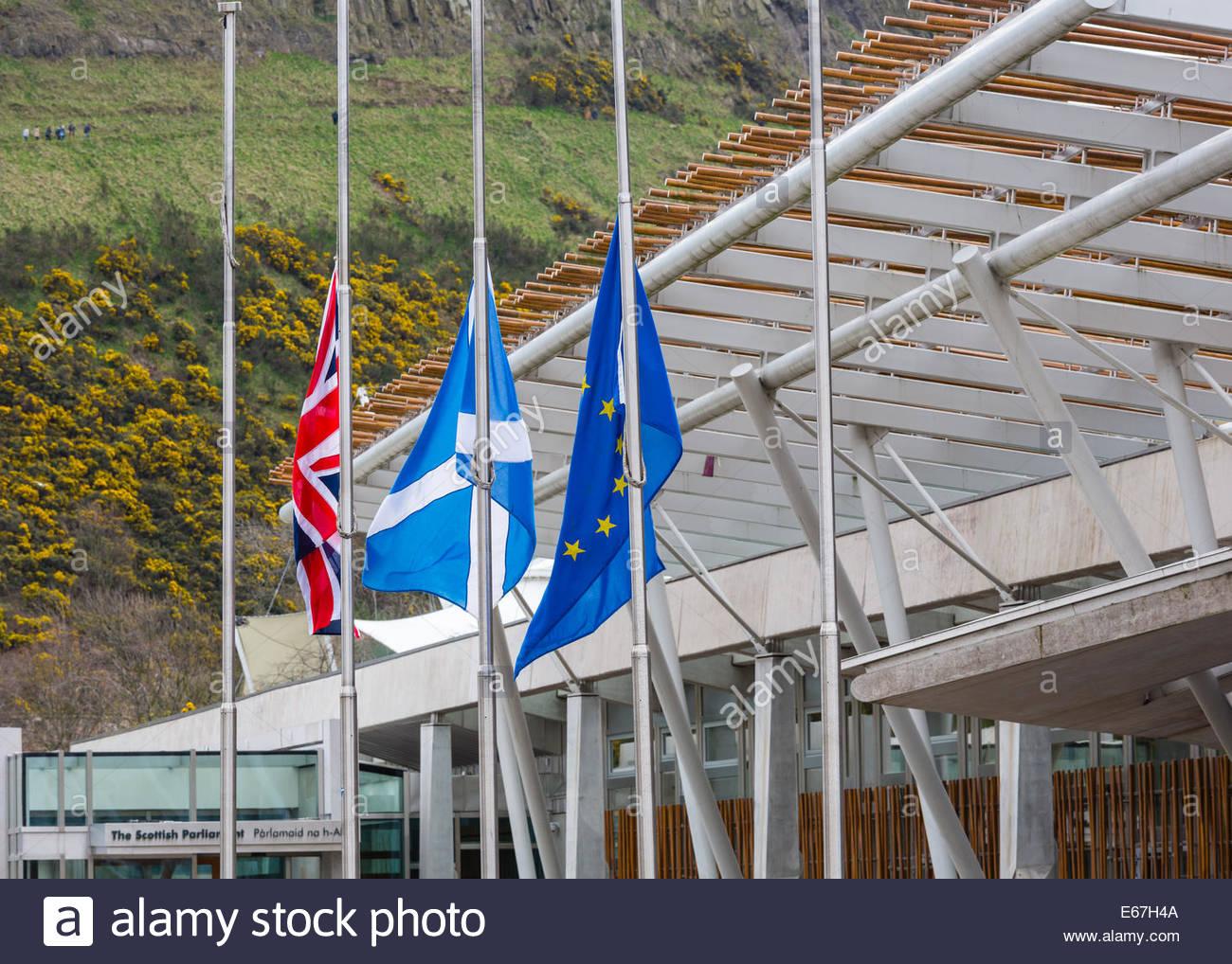 UK, Scotland and EU flags - Stock Image