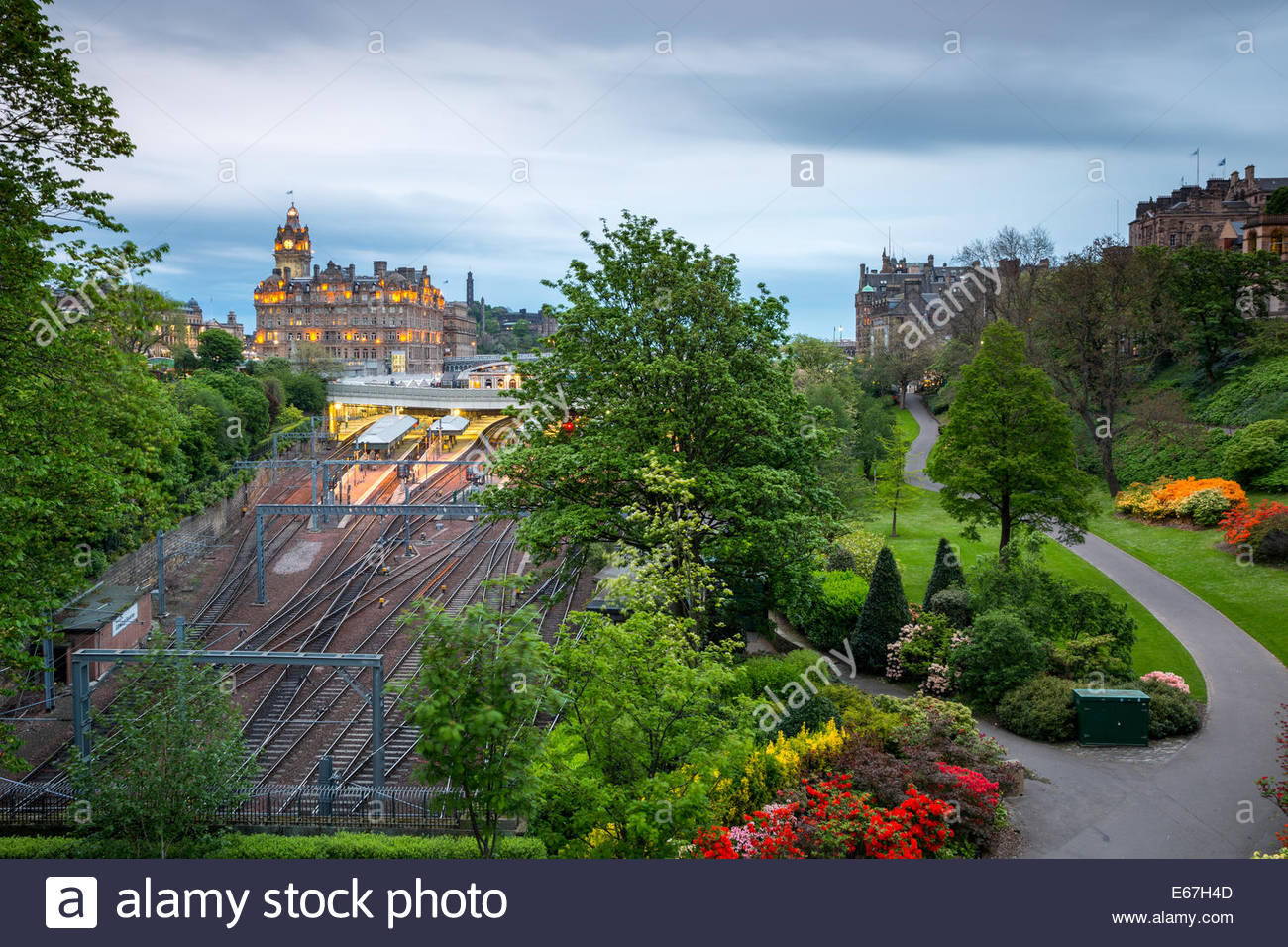 Princes Street Gardens and Waverley railway station, Edinburgh - Stock Image