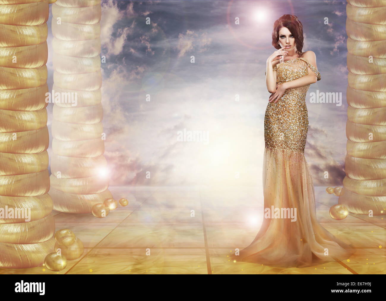 Fantasy. Glam. Enticing Lady in Stylish Dress over Abstract Background - Stock Image