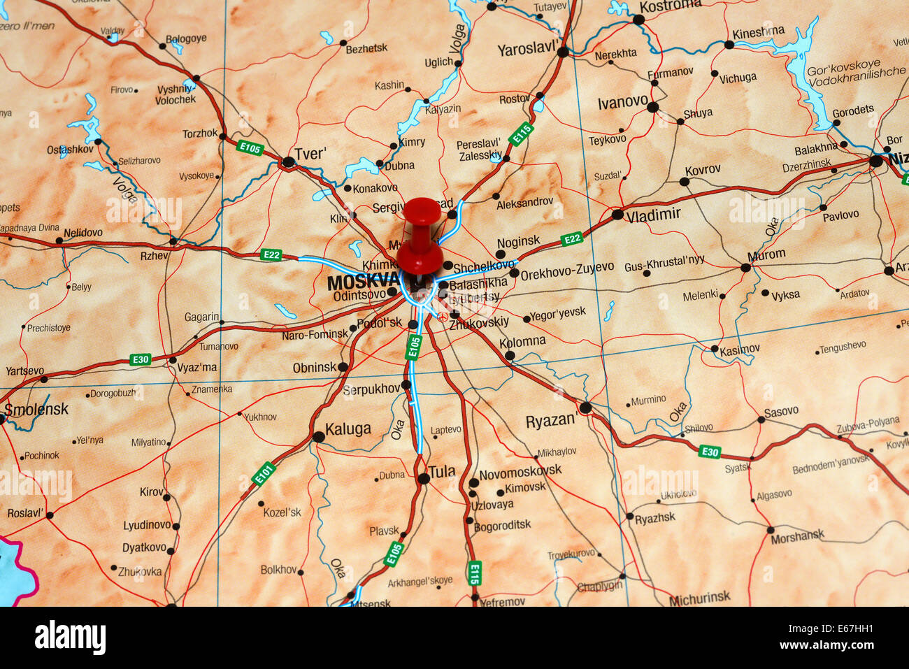 Moscow Pinned On A Map Of Europe Stock Photo 72696877 Alamy