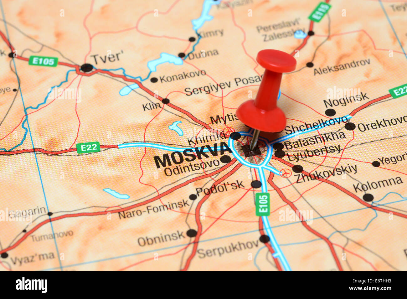 Close Up Moscow Russia Map Stock Photos & Close Up Moscow Russia Map ...