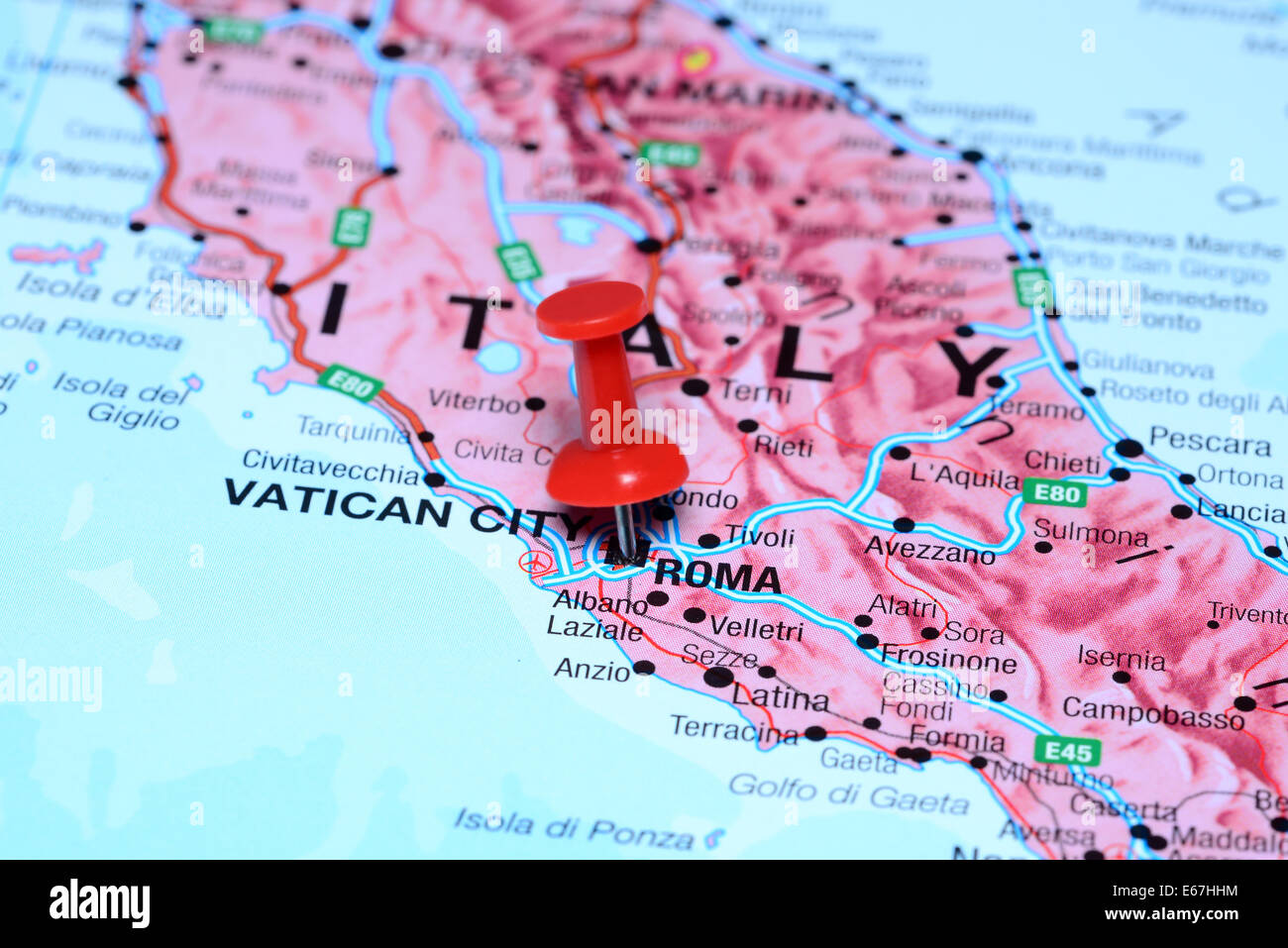 Rome Pinned On A Map Of Europe Stock Photo 72696896 Alamy