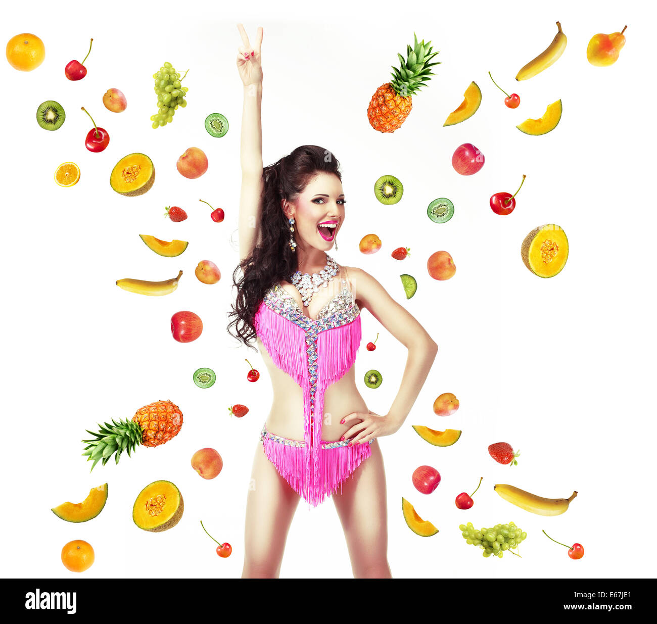 Healthy Lifestyle & Diet Concept. Woman with Mix of Juicy Fresh Fruit - Stock Image