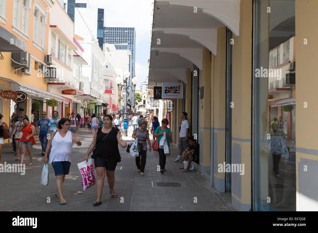 Rua Trajano, pedestrian street in Florianopolis historic city center. Santa Catarina, Brazil - Stock Image