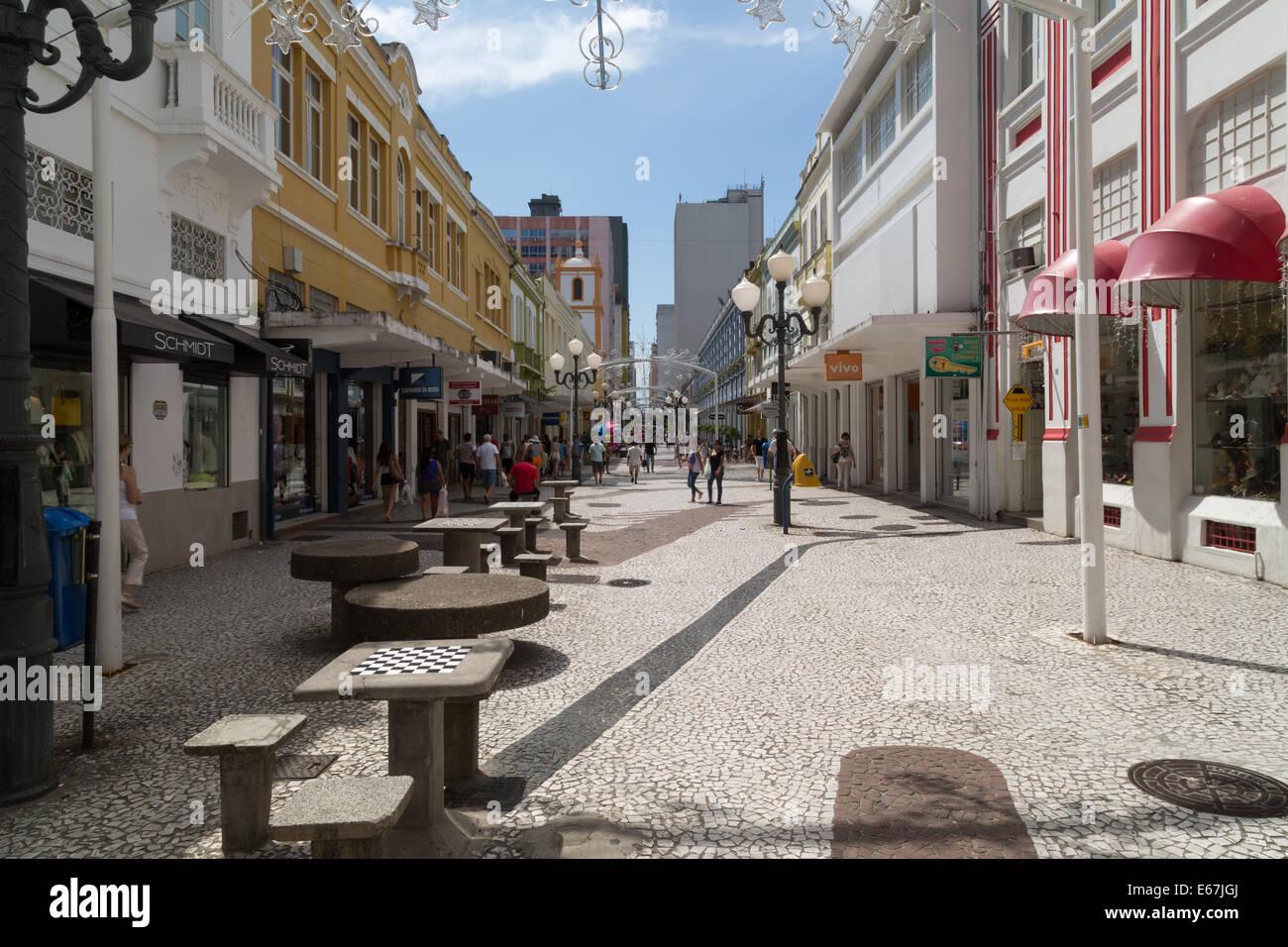 Rua Felipe Schmidt, the main pedestrian street in Florianopolis historic city center. Santa Catarina, Brazil - Stock Image