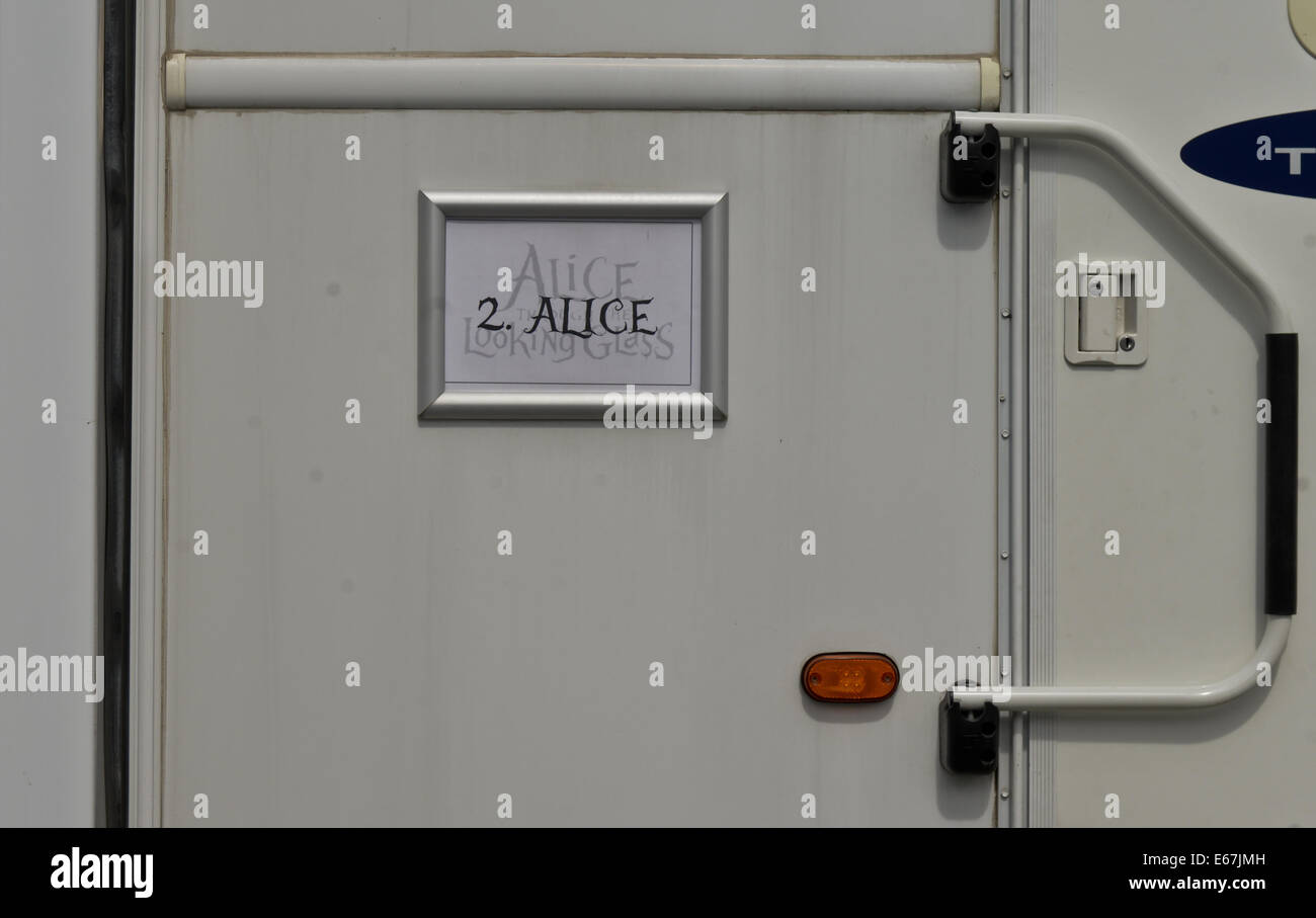 Gloucester, UK. 17th Aug, 2014.  Picture Shows:Dressing rooms for the Actors and production crew for Alice, Through - Stock Image