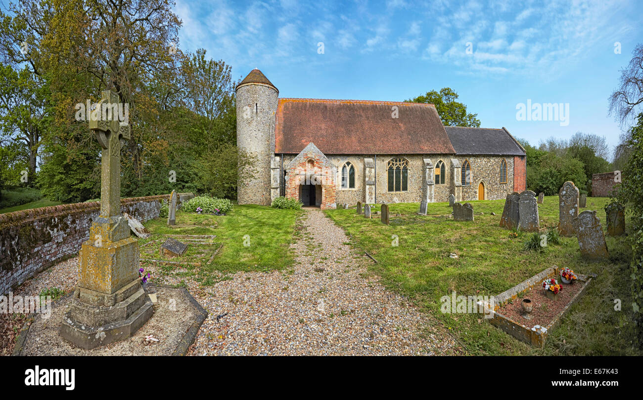 St Mary's church Moulton St Mary Norfolk redundant Anglican round-tower church Grade I listed building dating - Stock Image