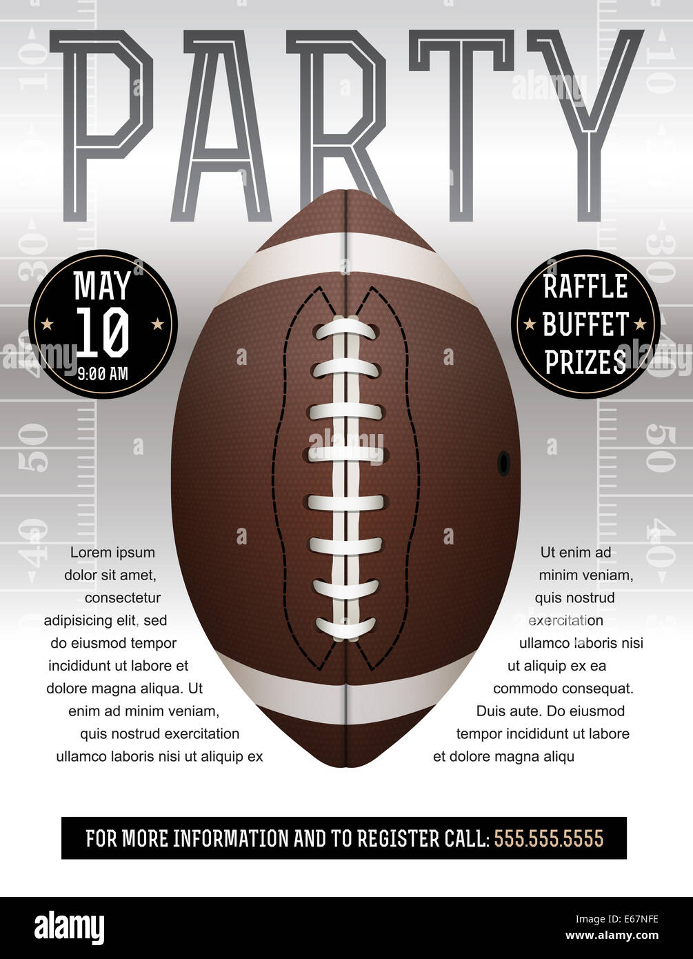 an american football flyer design perfect for tailgate parties stock