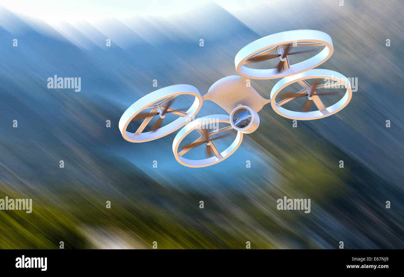 Unmanned Aerial Vehicle drone in flight - Stock Image