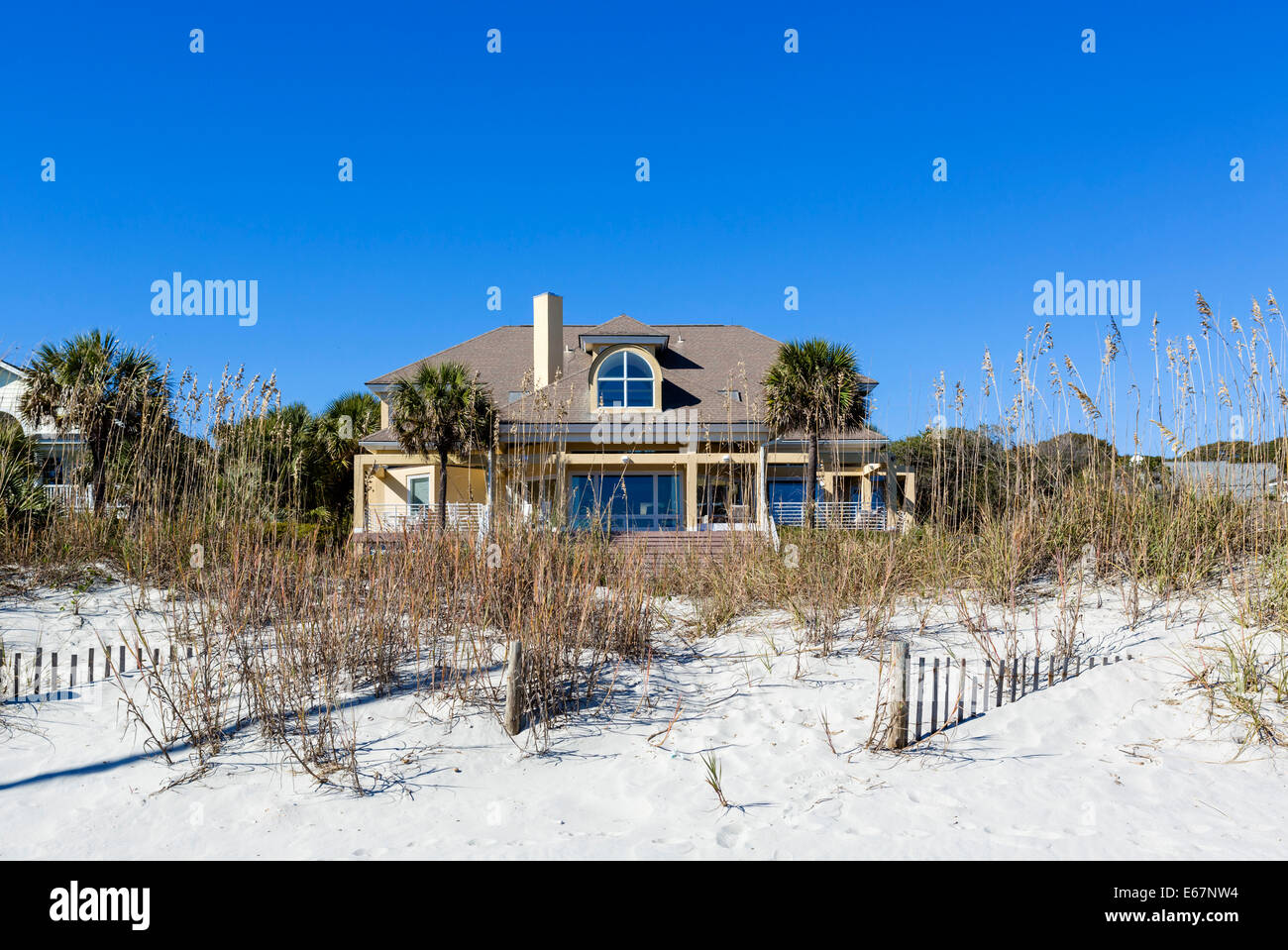 Typical beachfront house at the northern end of Myrtle Beach, South Carolina, USA - Stock Image