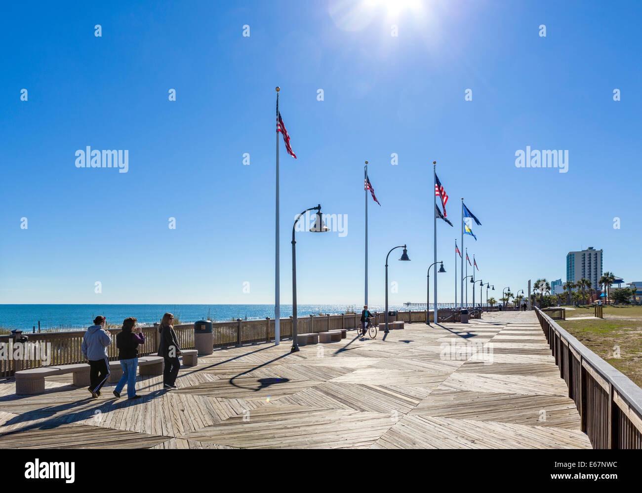 Myrtle Beach Boardwalk on a quiet out of season fall day, Myrtle Beach, South Carolina, USA - Stock Image