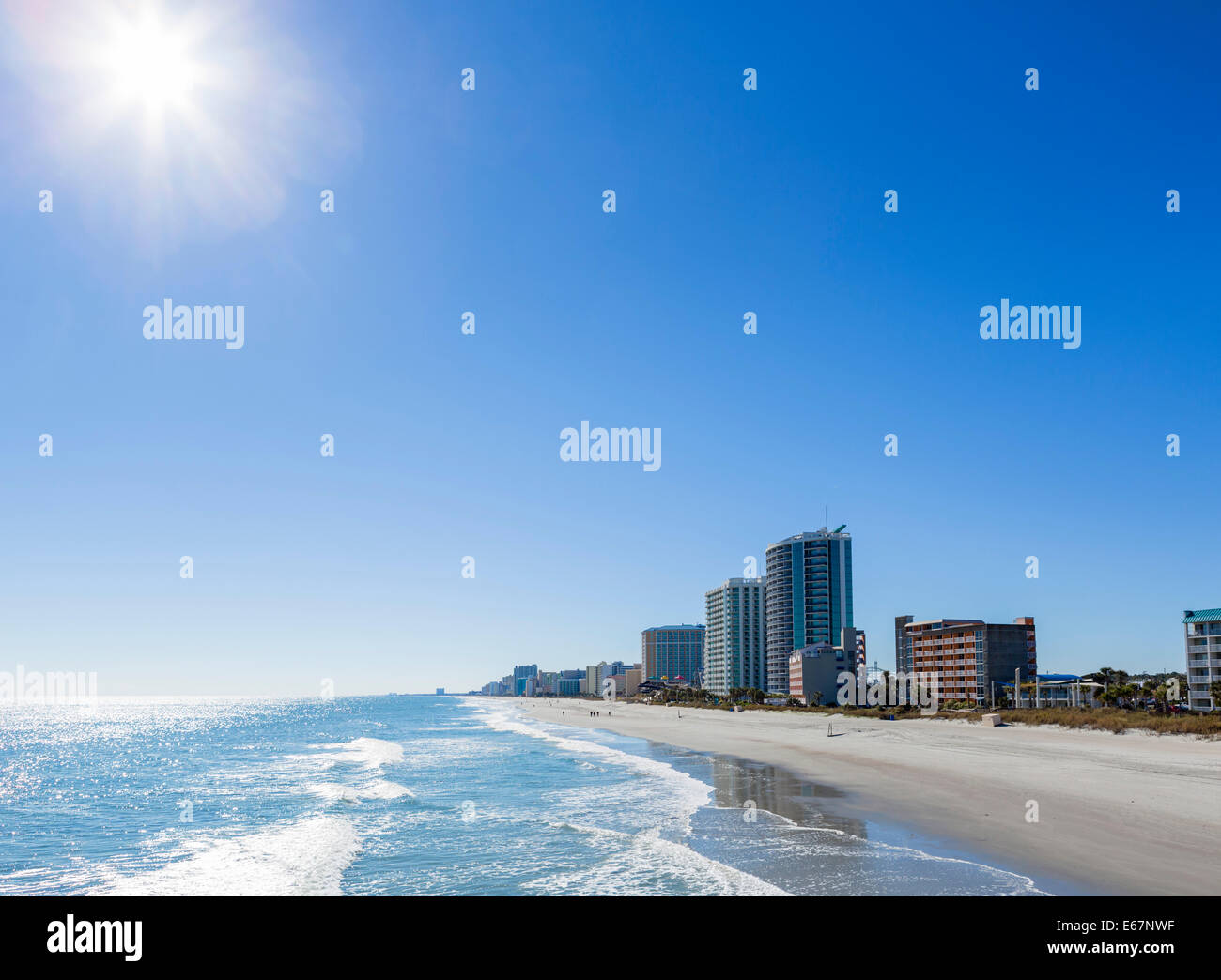 The beach from the 2nd Avenue Pier on on a quiet out of season fall day, Myrtle Beach, South Carolina, USA - Stock Image