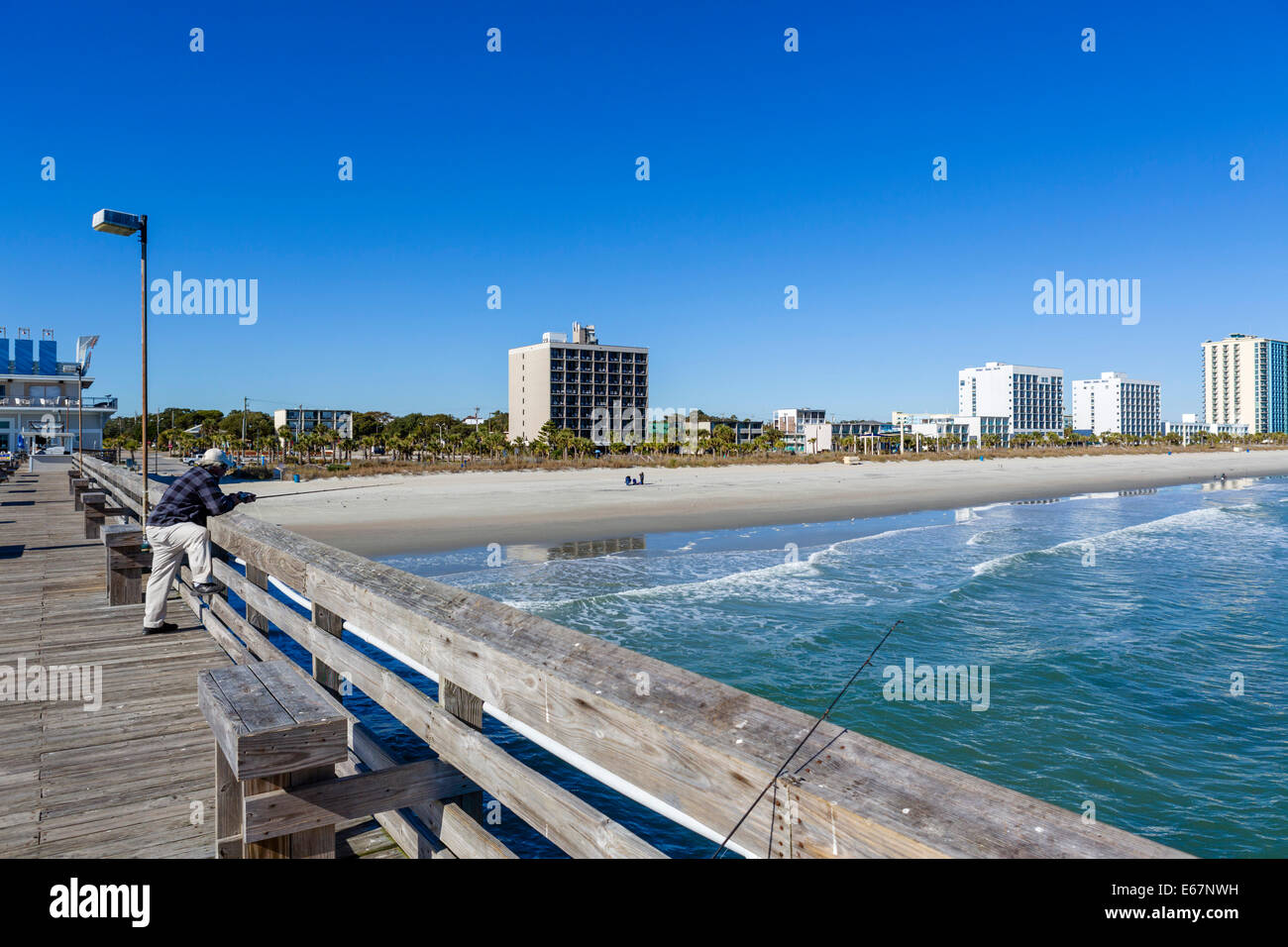 The beach from the 2nd Avenue Pieron on a quiet out of season fall day, Myrtle Beach, South Carolina, USA - Stock Image
