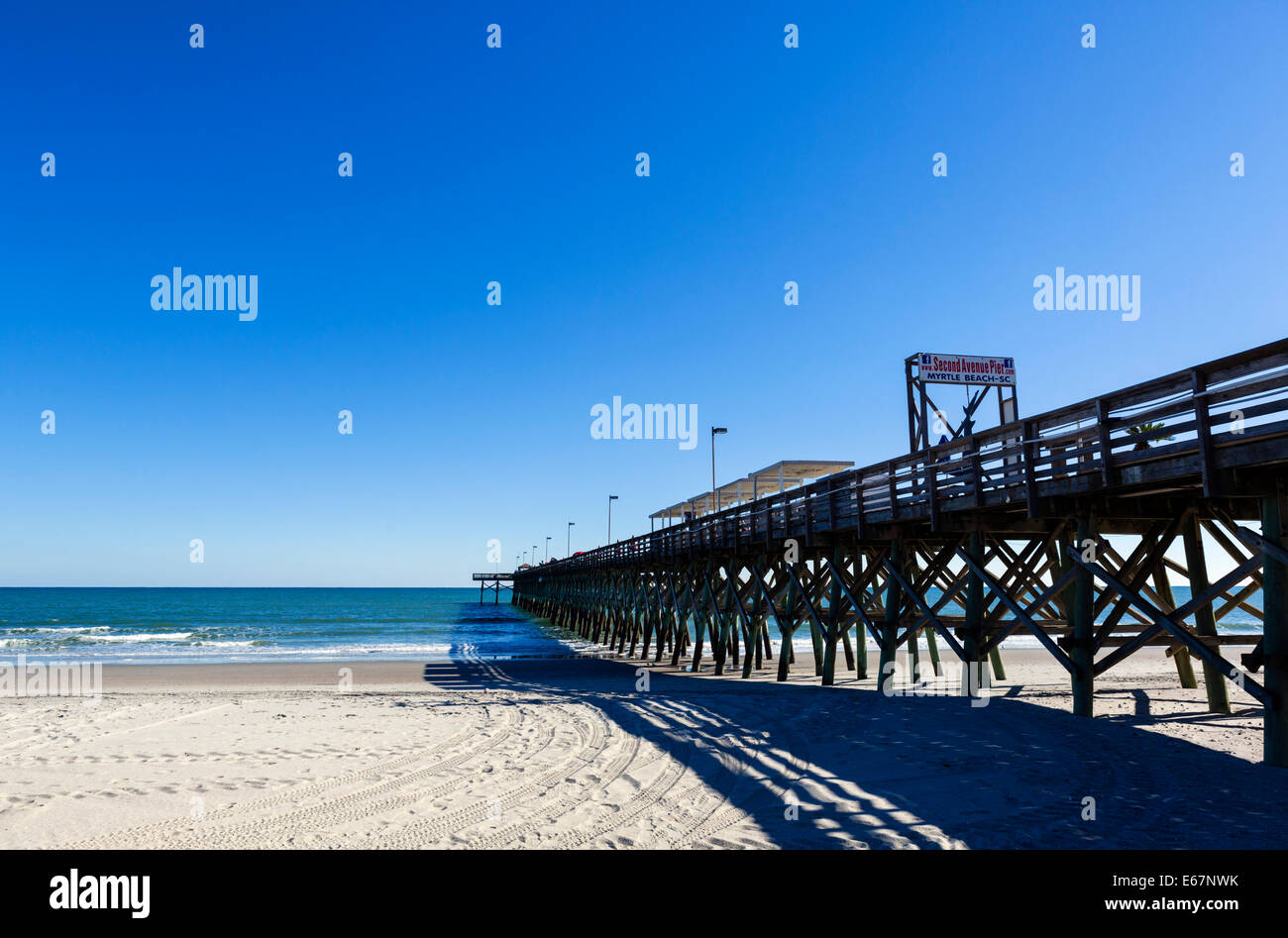 The 2nd Avenue Pier on a quiet out of season fall day, Myrtle Beach, South Carolina, USA - Stock Image