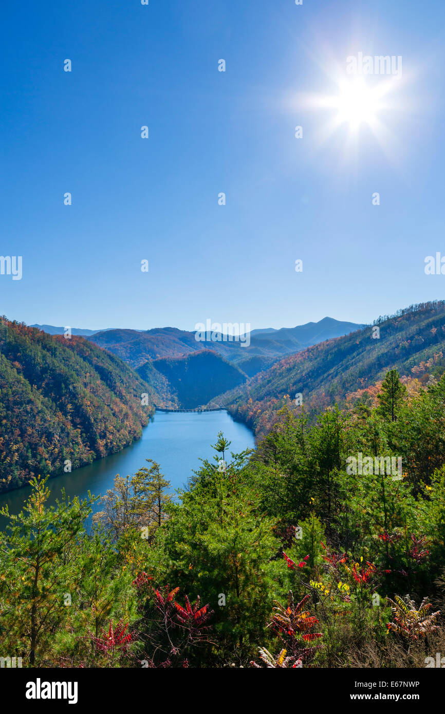 Calderwood Dam on Little Tennessee River from 'Dragon' road (US 129) south of Great Smoky Mountains National - Stock Image