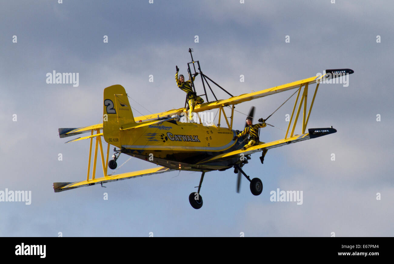 Helsinki, Finland, 17th of August, 2014. Catwalk from Scandinavian Air show performed at Helsinki-Malmi Airport - Stock Image